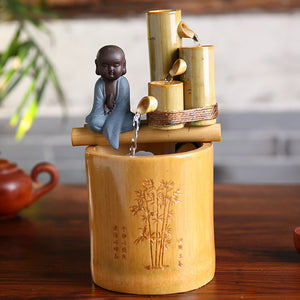 Creative Bamboo Water Fountain Buddha Monk
