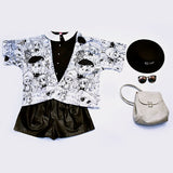 mood kimono candy candy sweet girl black and white blanco y negro tela suave y fresca kawaii summer verano cute trendy