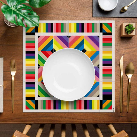 Hidraulik square vinyl placemats tile pattern Tamarit design