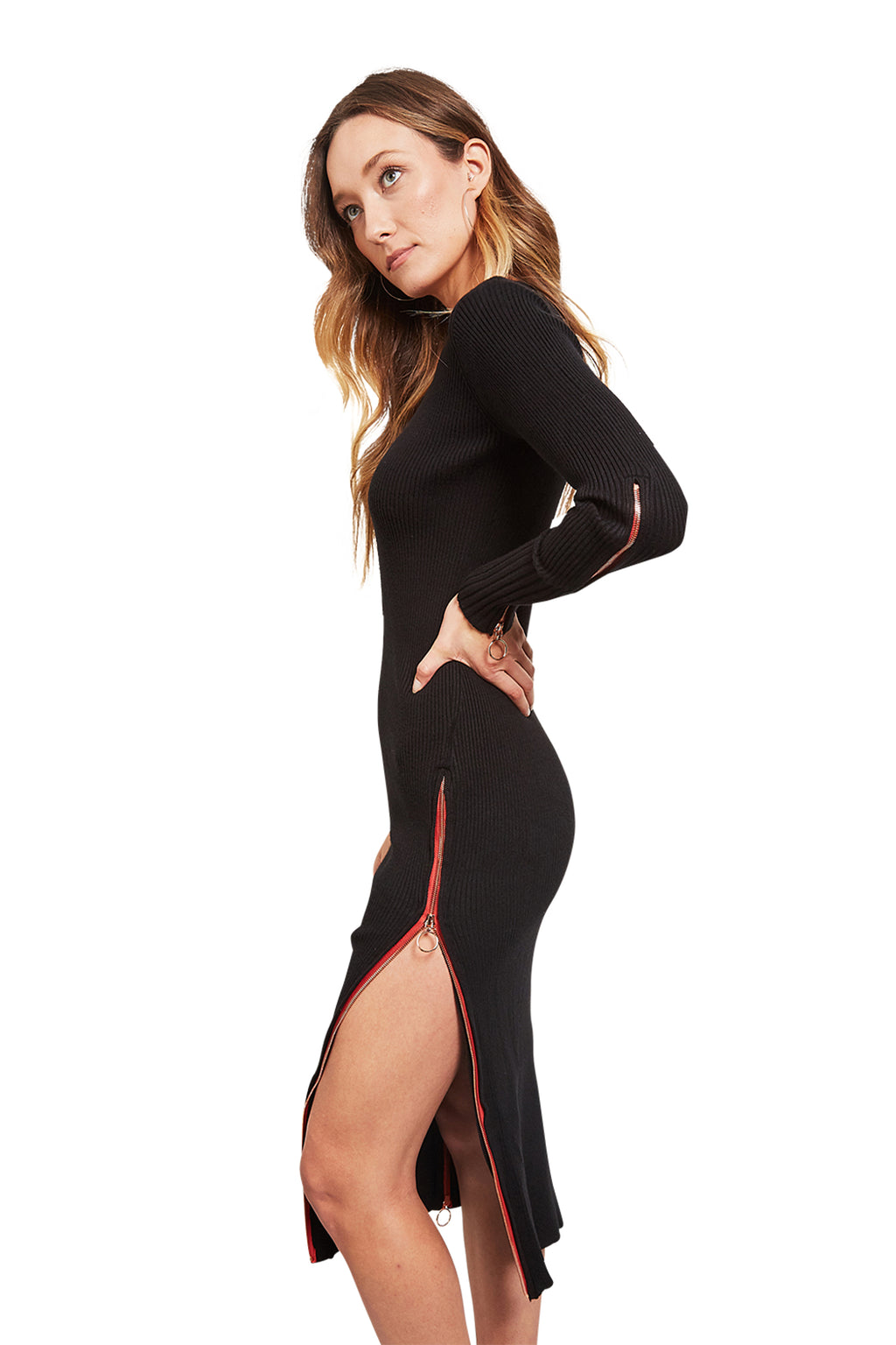 For Love & Lemons Harley Midi Zipper Dress