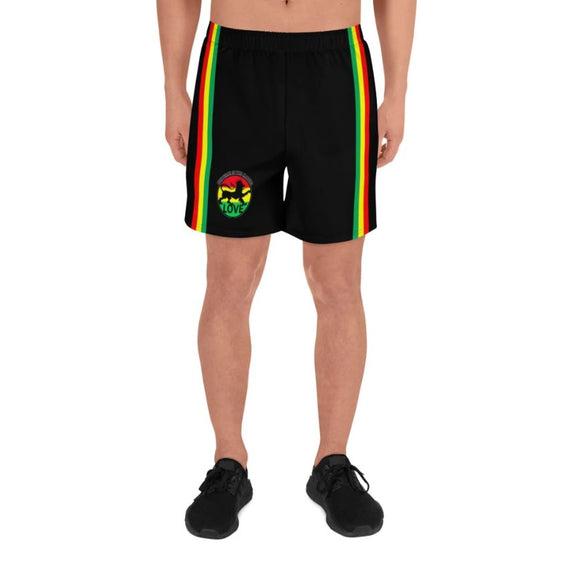 Rasta Stripe and Lion - Men's Athletic Long Shorts