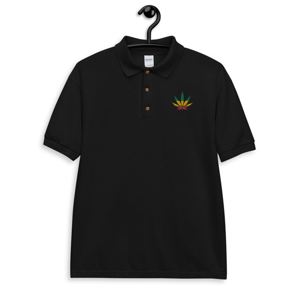 Rasta Weed Leaf - Embroidered Polo Shirt