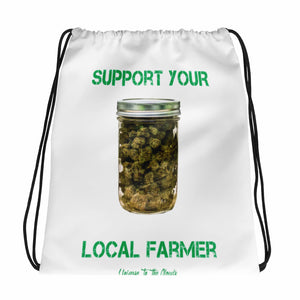 Support Your Local Farmer Drawstring bag