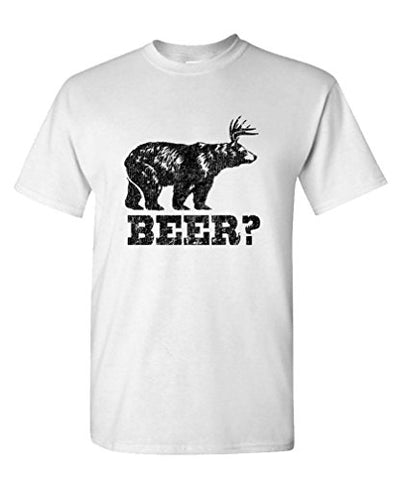 Bear + Deer = Beer?  T Shirt Crew Neck Short Sleeve Tee For Men FREE SHIPPING