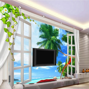 Photo Wallpaper Outside The Window Natural Scenery Clear 3D Stereoscopic Television Background Custom Mural