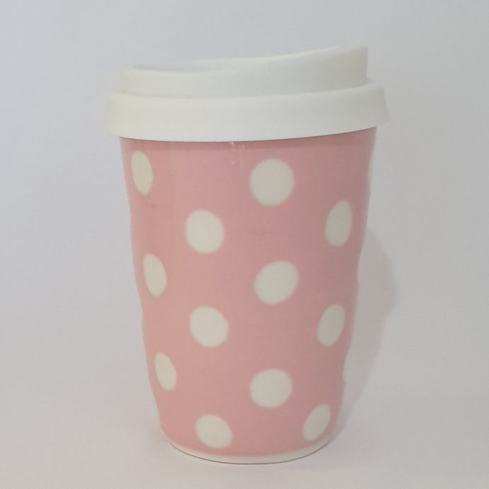 Travel Cup - Pink / White Spot
