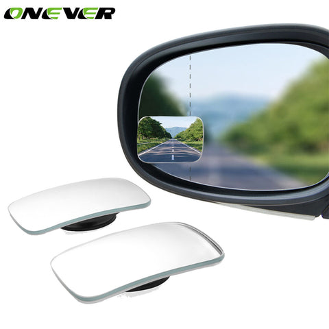 Onever 2 Pcs Car Wide Angle Rear View Mirror 360 Degree Rotation Auto Rearview Auxiliary Parking HD Frameless Blind Spot Mirrors