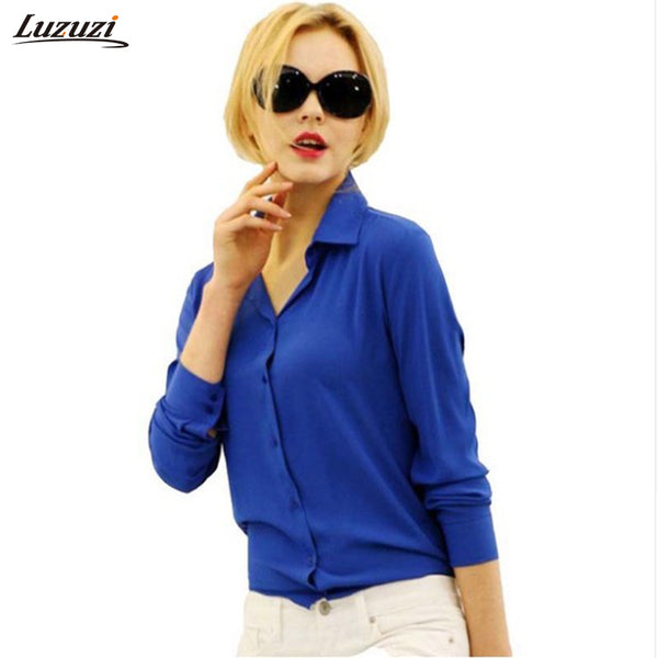 1PC Women Chiffon Blouse Long Sleeve Shirt