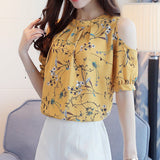 Chiffon Print Floral Shirt For Womens Elegant Open Shoulder Blouse