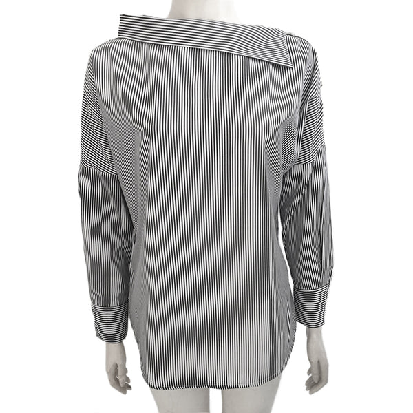Women Striped Sexy Skew Collar Loose Full Shirts Batwing Sleeve Blouse
