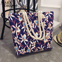 Mara's Dream 2017 Casual Women Floral Large Capacity Tote Canvas Shoulder Bag Shopping Bag Beach Bags Casual Tote Feminina