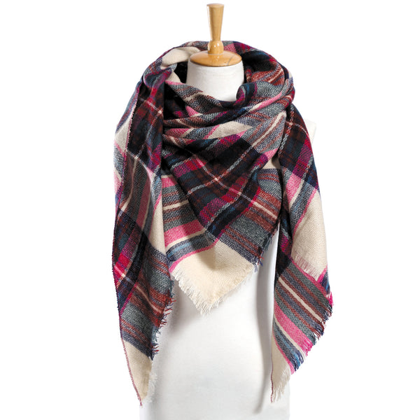 Top quality Winter Scarf Plaid hot sale Acrylic Basic Shawls