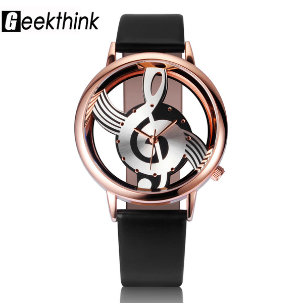 Quartz Analog Hollow Musical Note Style leather Wrist Watch fashion