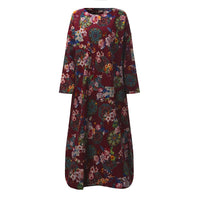 Maxi Long Dress Vintage Floral Print Long Sleeve Pockets Casual Loose