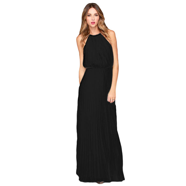 Sexy Dress Bohemian Style Sleeveless Floor Length Casual Long Dresses Women Chiffon Halter