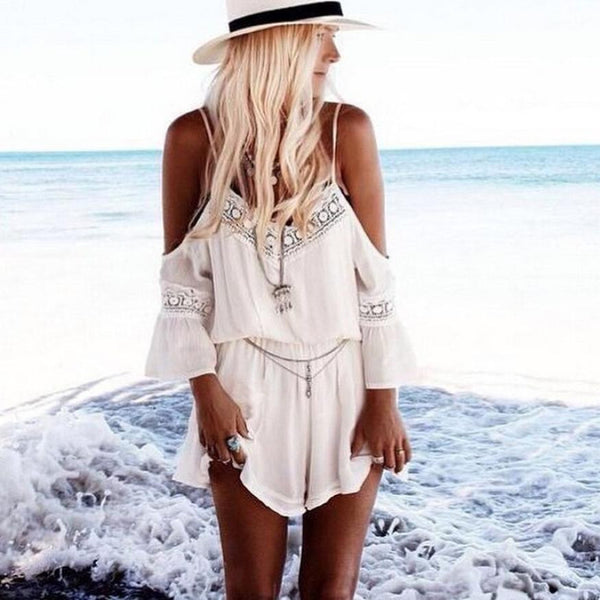 Lace Jumpsuit  Women Straps Halter Crochet Playsuits Beach rompers