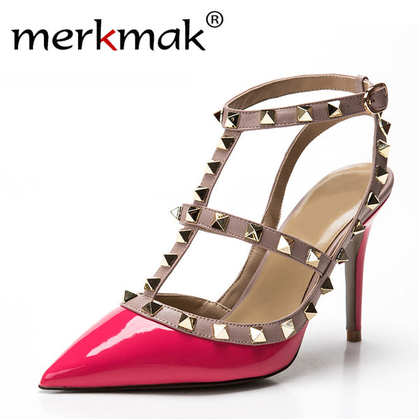 Lady Sexy Women Pumps Pointed Toe Sandals Slingback Studded T-Strap Rivet High Heels