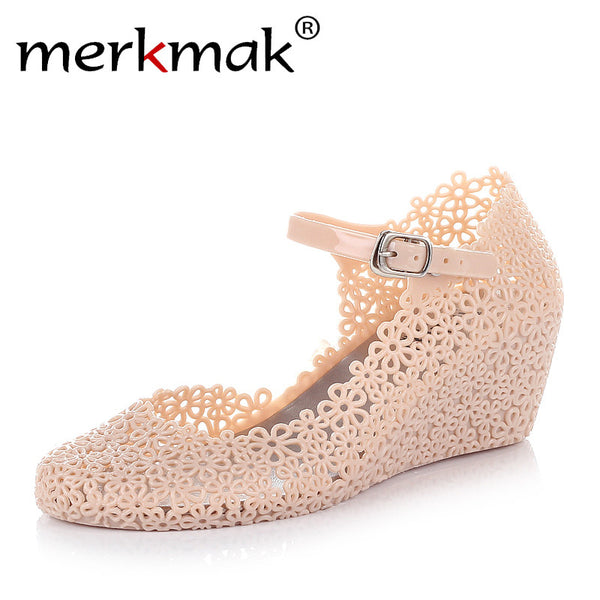 New Arrival! Soft Jelly Rubber Floral Mary Jane Round Toe Wedge Heel