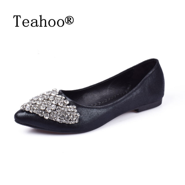 Flats Shoes Women Ballet Princess Shoes For Casual Crystal Boat Shoes
