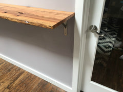 live edge reclaimed barnwood shelf