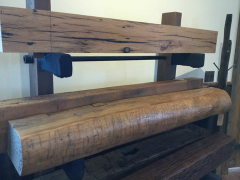 Fireplace Mantel from Rustic Wood Beams