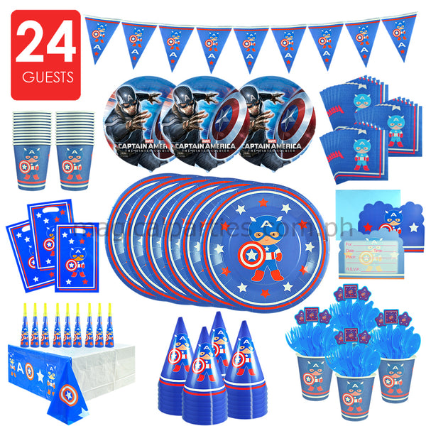 CAPTAIN AMERICA Party Kit Premium Set for 24 Guests