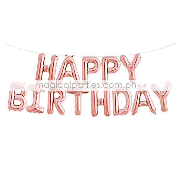 ADD ONS Happy Birthday 13-Letter Foil Balloon Set Rose Gold