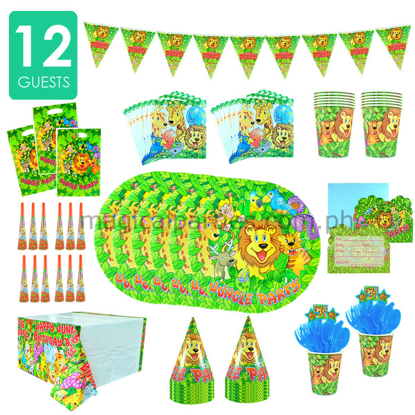 JUNGLE SAFARI Party Kit Deluxe Set for 12 Guests