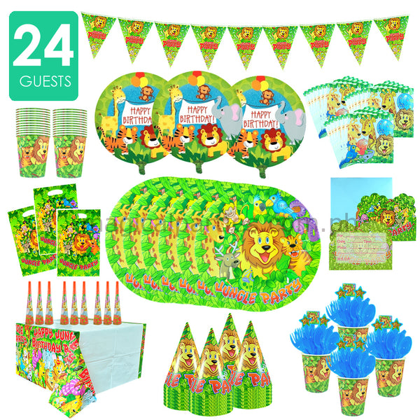 JUNGLE SAFARI Party Kit Premium Set for 24 Guests