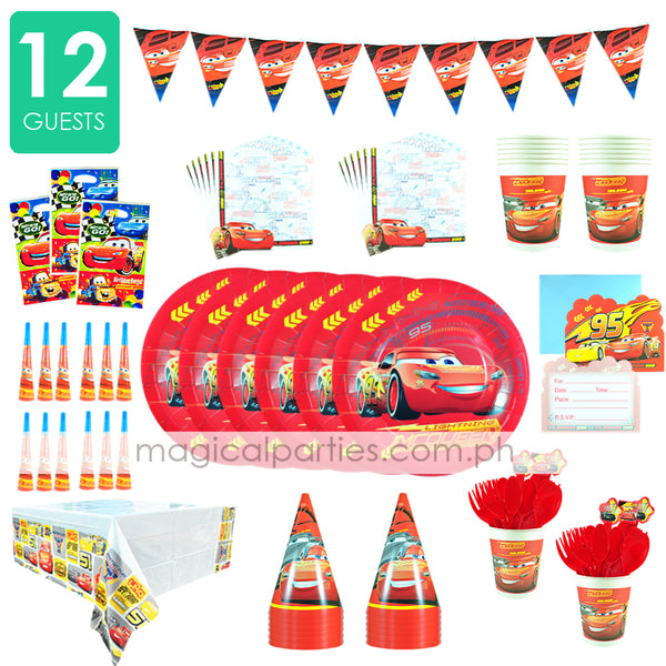 RACING MCQUEEN Party Kit Deluxe Set for 12 Guests