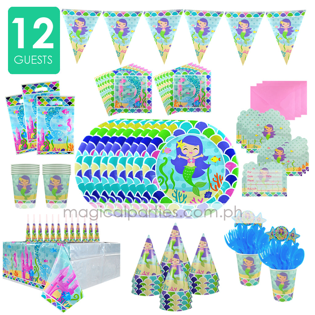 LITTLE MERMAID Party Kit Deluxe Set for 12 Guests