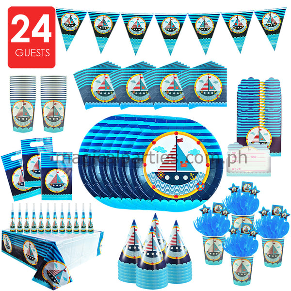 NAUTICAL Party Kit Premium Set for 24 Guests