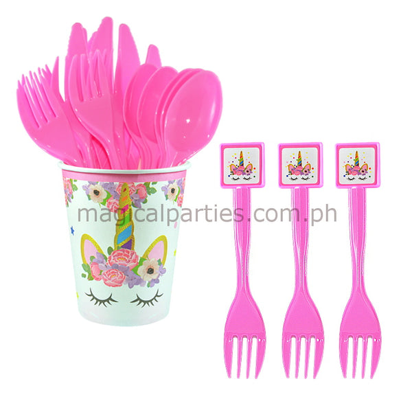 PINK UNICORN 6pc Party Fork Set