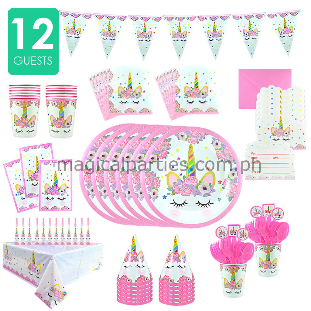PINK UNICORN Party Kit Deluxe Set For 12 Guests