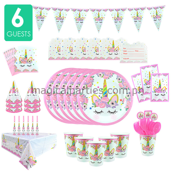 PINK UNICORN Party Kit Basic Set for 6 Guests