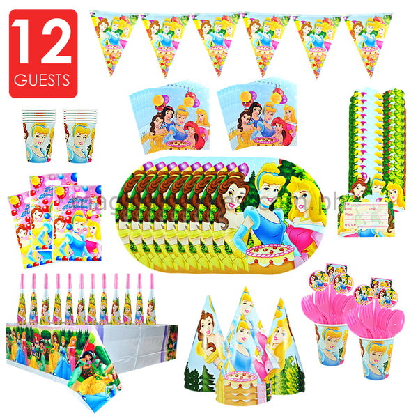 DISNEY PRINCESS Party Kit Deluxe Set for 12 Guests