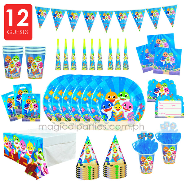 BABY SHARK Party Kit Deluxe Set for 12 Guests