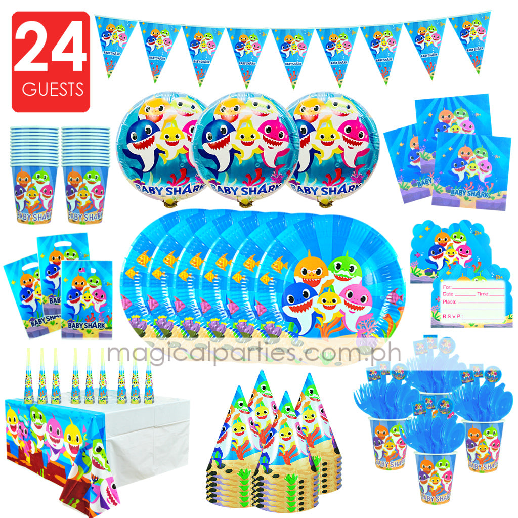 BABY SHARK Party Kit Premium Set for 24 Guests