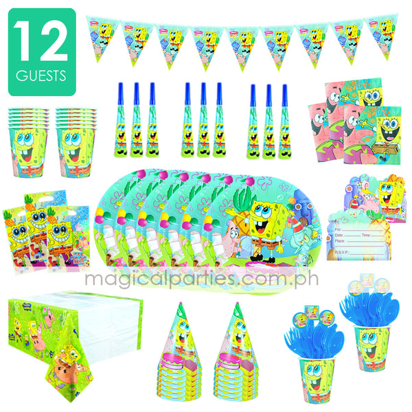 SPONGEBOB Party Kit Deluxe Set for 12 Guests