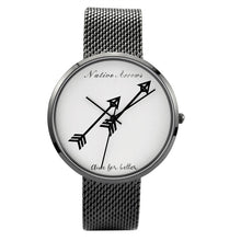 Black Single Arrows Mesh Wrist Watch