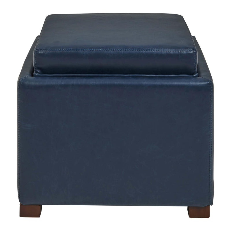 Cameron Square Bonded Leather Ottoman w/ tray - What A Room Furniture