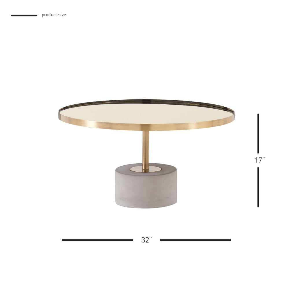 Andrea Coffee Table Glass Top with Concrete Base - What A Room Furniture