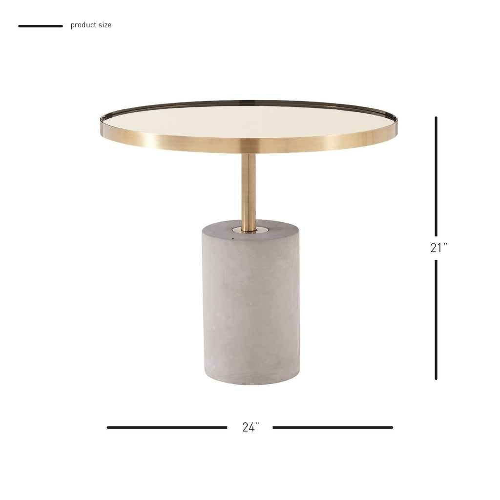 Andrea End Table Glass Top with Concrete Base - What A Room Furniture