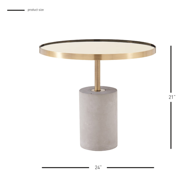 Andrea Side/End Table Glass Top with Concrete Base - What A Room