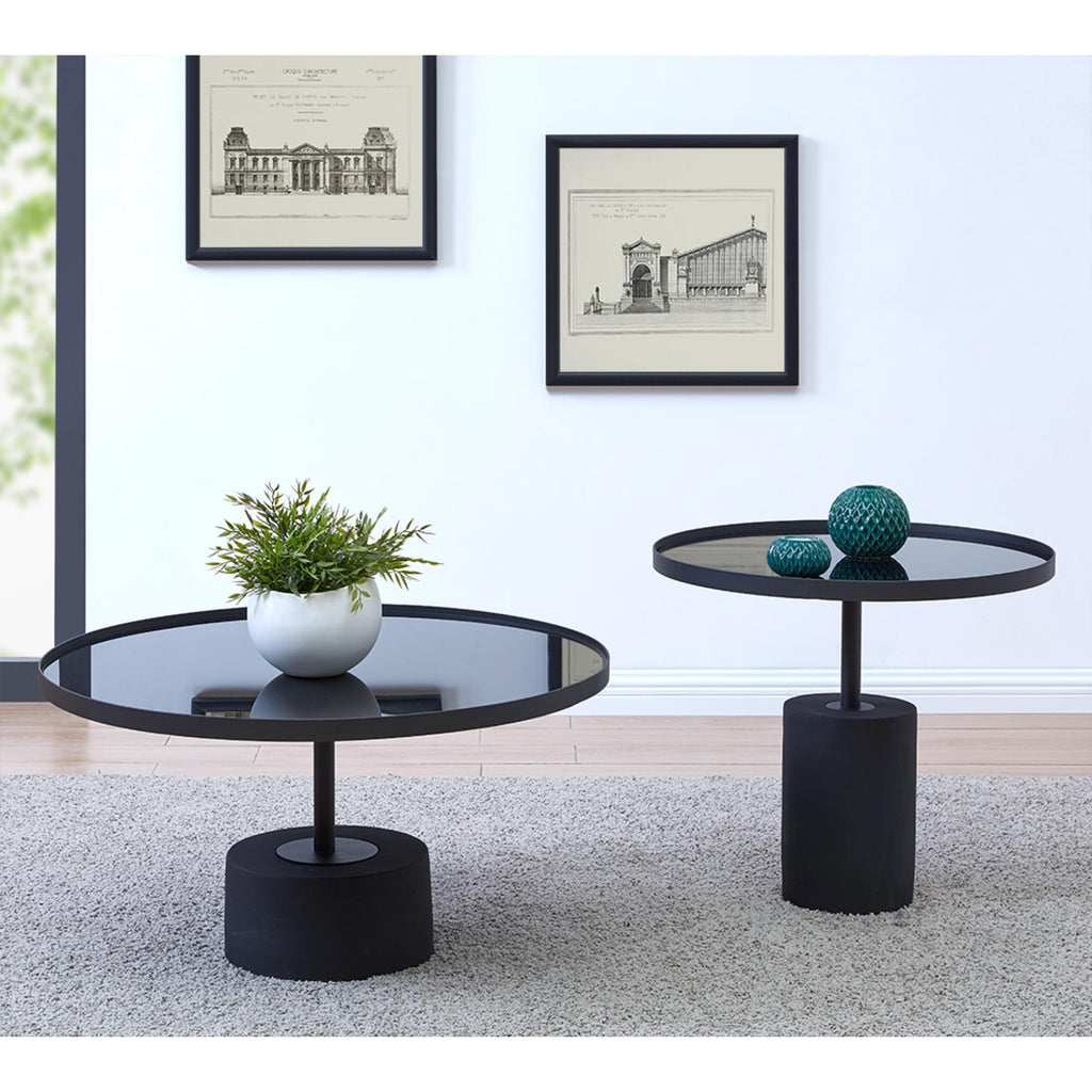 Samara KD Coffee Table Glass Top with Black Concrete Base - What A Room Furniture