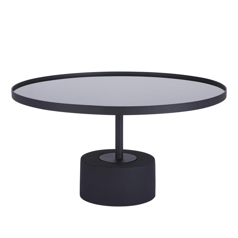 Samara KD Coffee Table Glass Top with Black Concrete Base