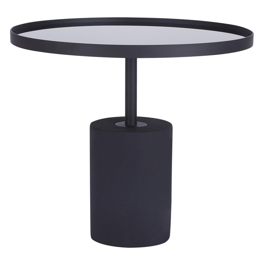Samara KD End Table Glass Top with Black Concrete Base - What A Room Furniture