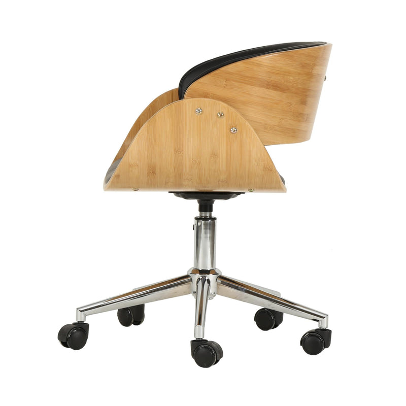 Lexie KD PU Bamboo Swivel Office Chair