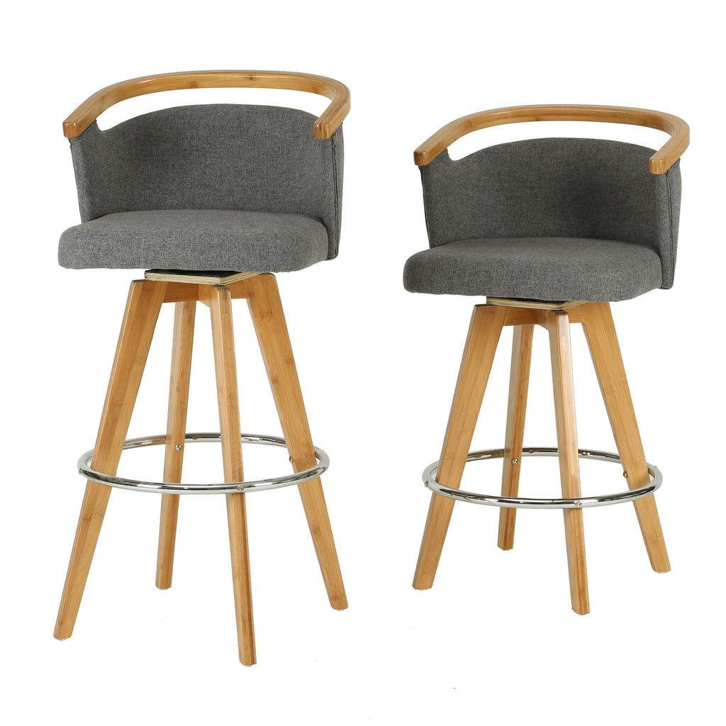Luca KD Fabric Bamboo Swivel Counter Stool - What A Room Furniture