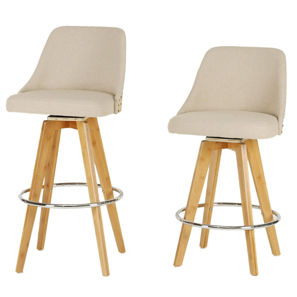 Nala KD Fabric Bamboo Swivel Counter Stool